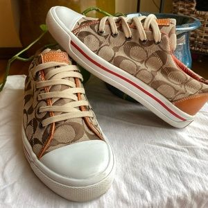 Classic brown and white coach shoes